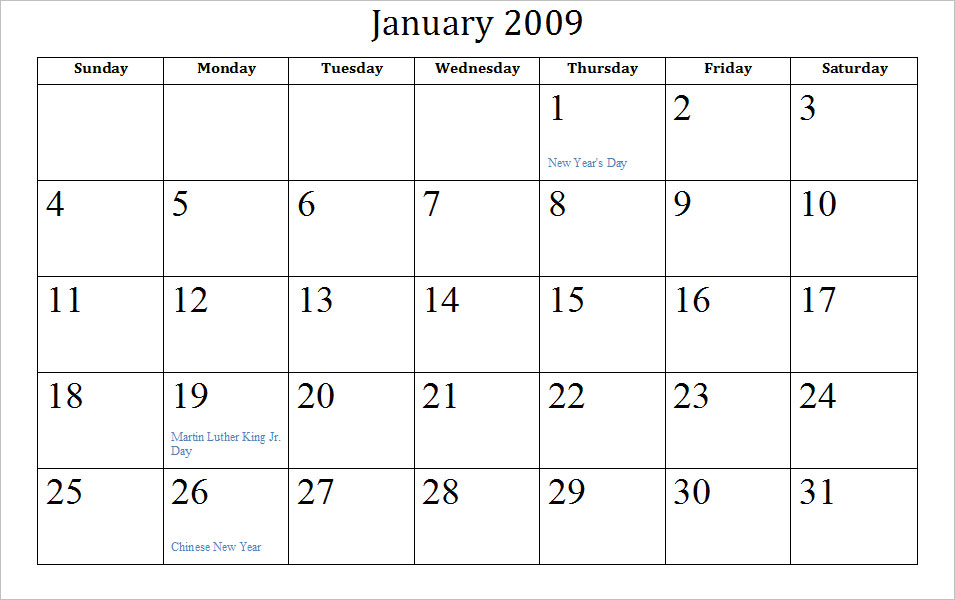 January Calendar 2009 : Printable january student calendar trials ireland