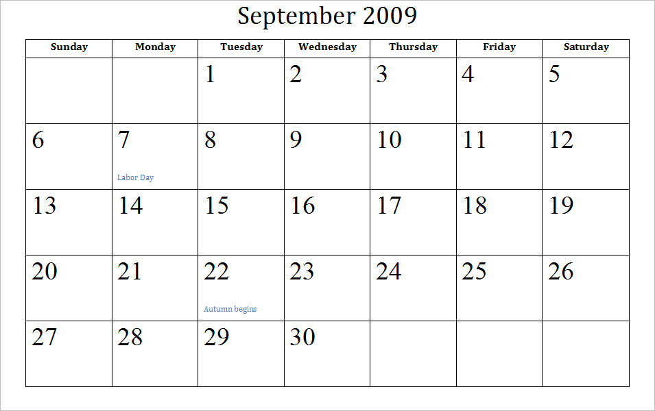 September Calendar | Calendar Template 2016