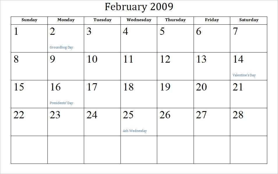 printable february calendar 2011. Blank February Calendar
