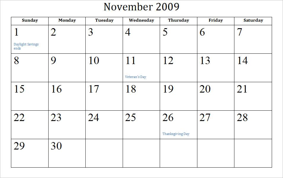 calendar november 2011. Blank November Calendar
