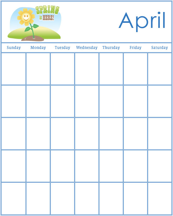 April Calendar S Kindergarten : Preschool calendars
