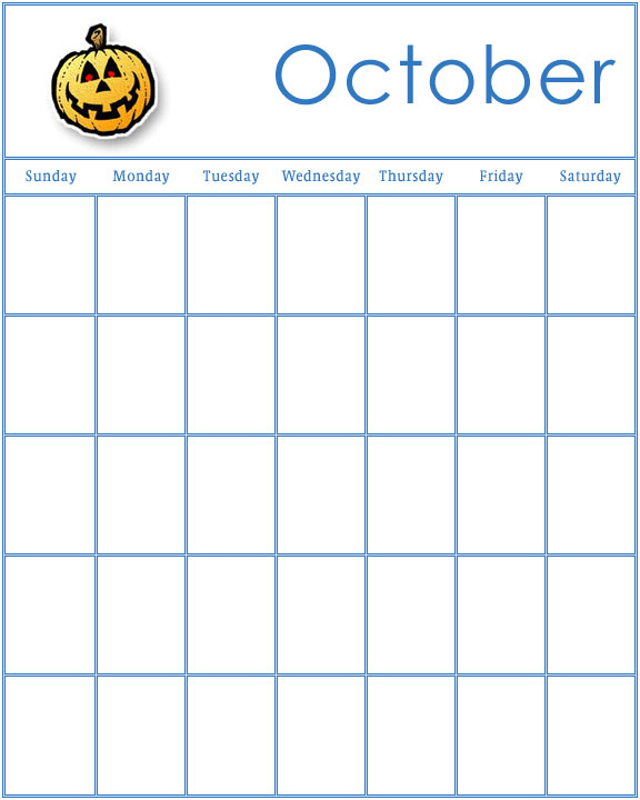 October Calendar Kindergarten : Preschool calendars