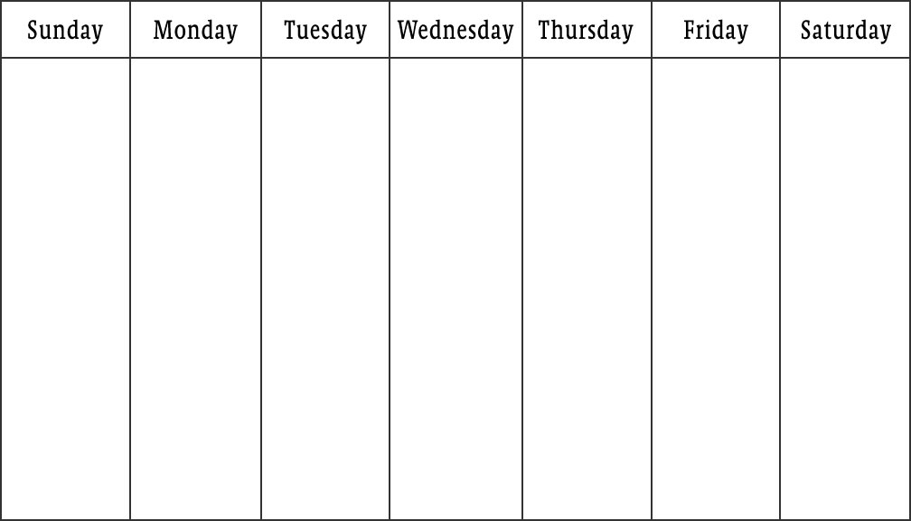 Blank calendars weekly blank calendar templates for Monday through saturday calendar template