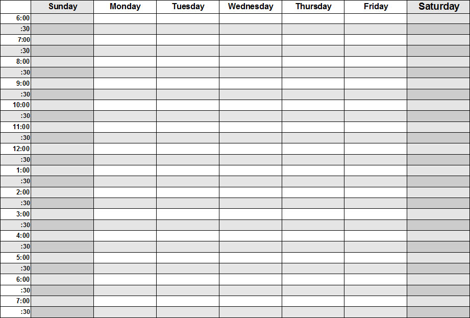 blank daily schedule template. Blank Weekly Calendars