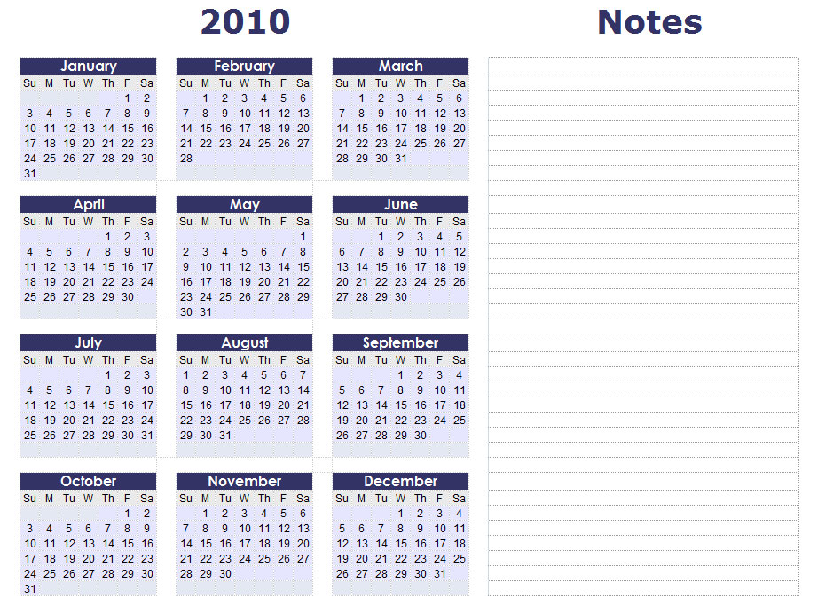 2010 excel calendar template.  Blank Calendars - Yea.