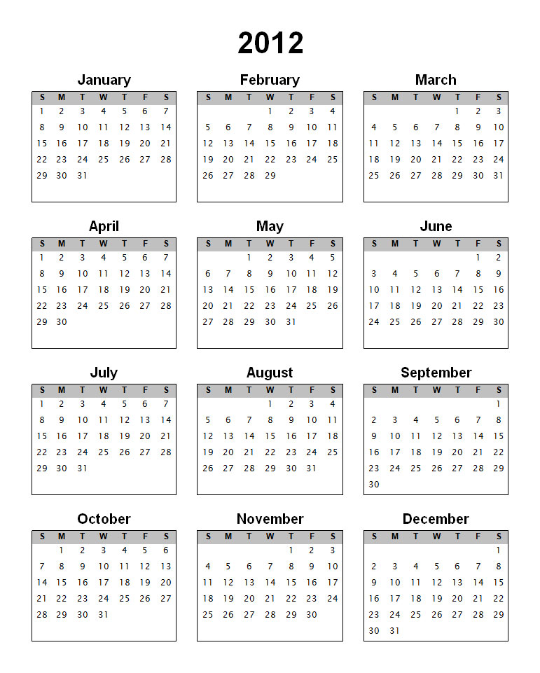 Blank Yearly Calendars With Notes