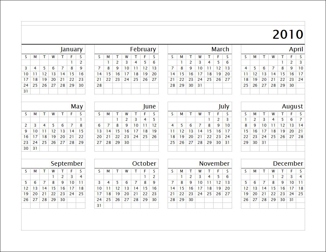 blank calendars