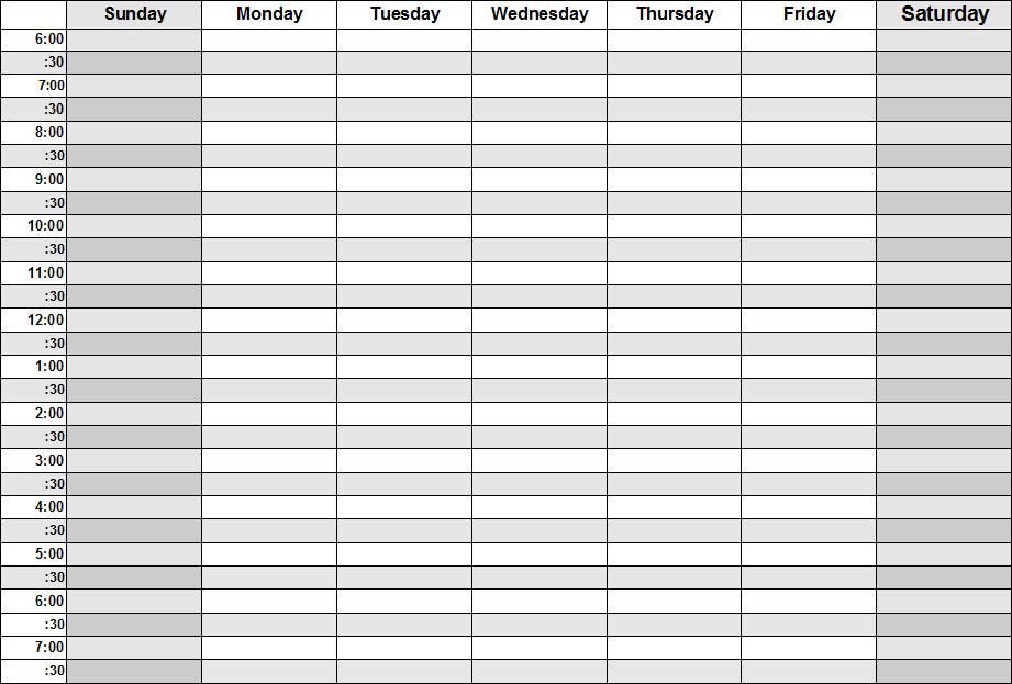 Weekly Calendar With Hours.Blank Calendars Weekly Blank Calendar Templates